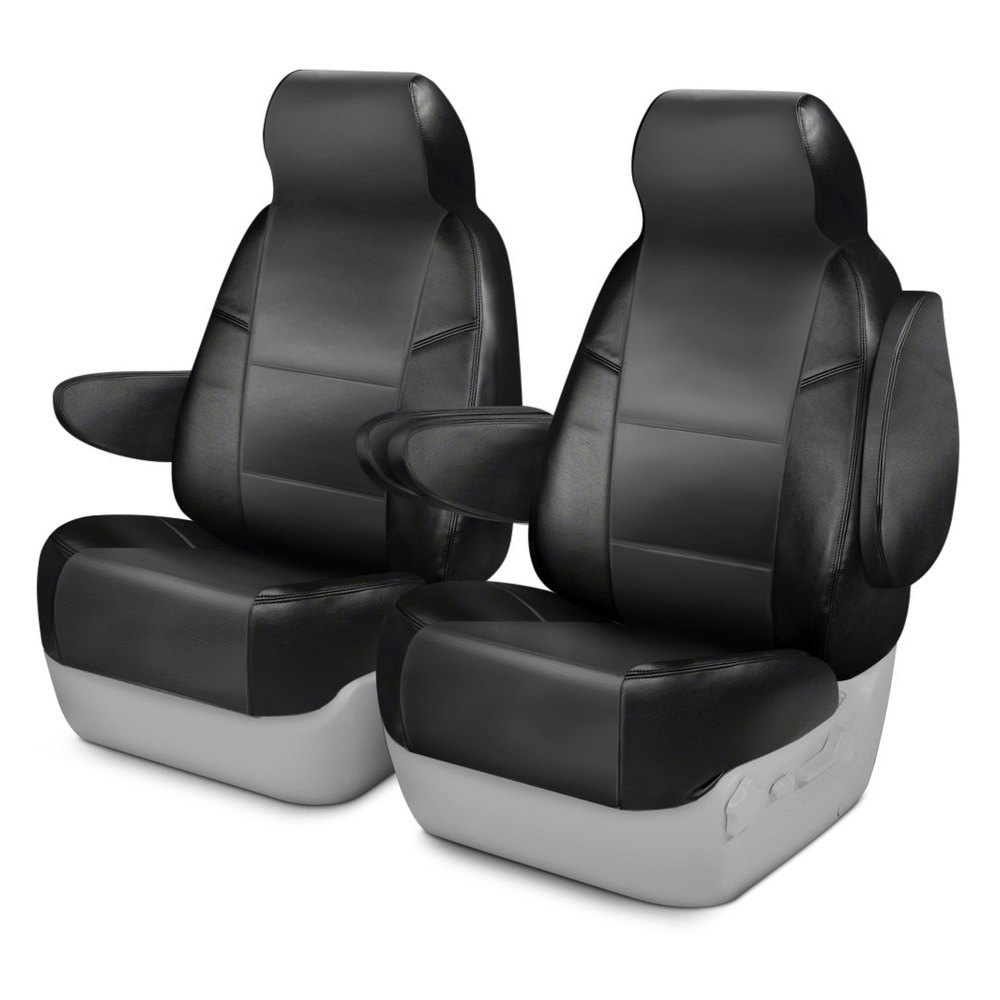 purchase Coverking® CSCQ12FD9779 - Leatherette 1st Row Black & Charcoal Custom Seat Covers for Ford truck cheap online
