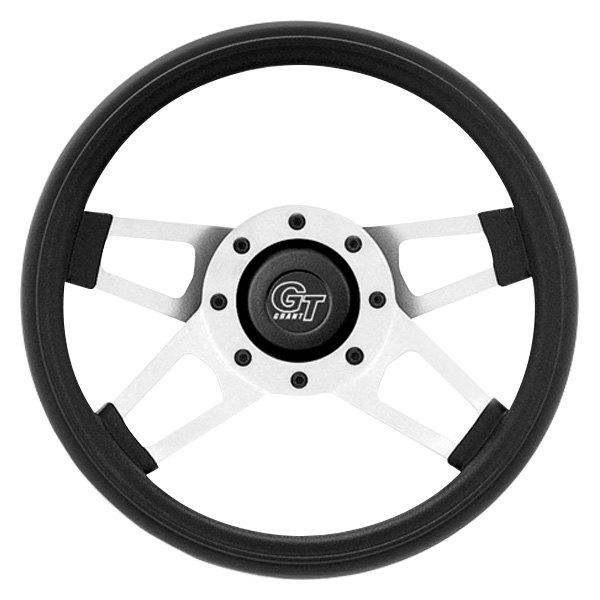 purchase Grant® 415 - 4-Spoke Silver Satin CRS Steel Design Challenger Style Steering Wheel with Black Cushioned Foam Grip 081126004158 for Ford truck cheap online