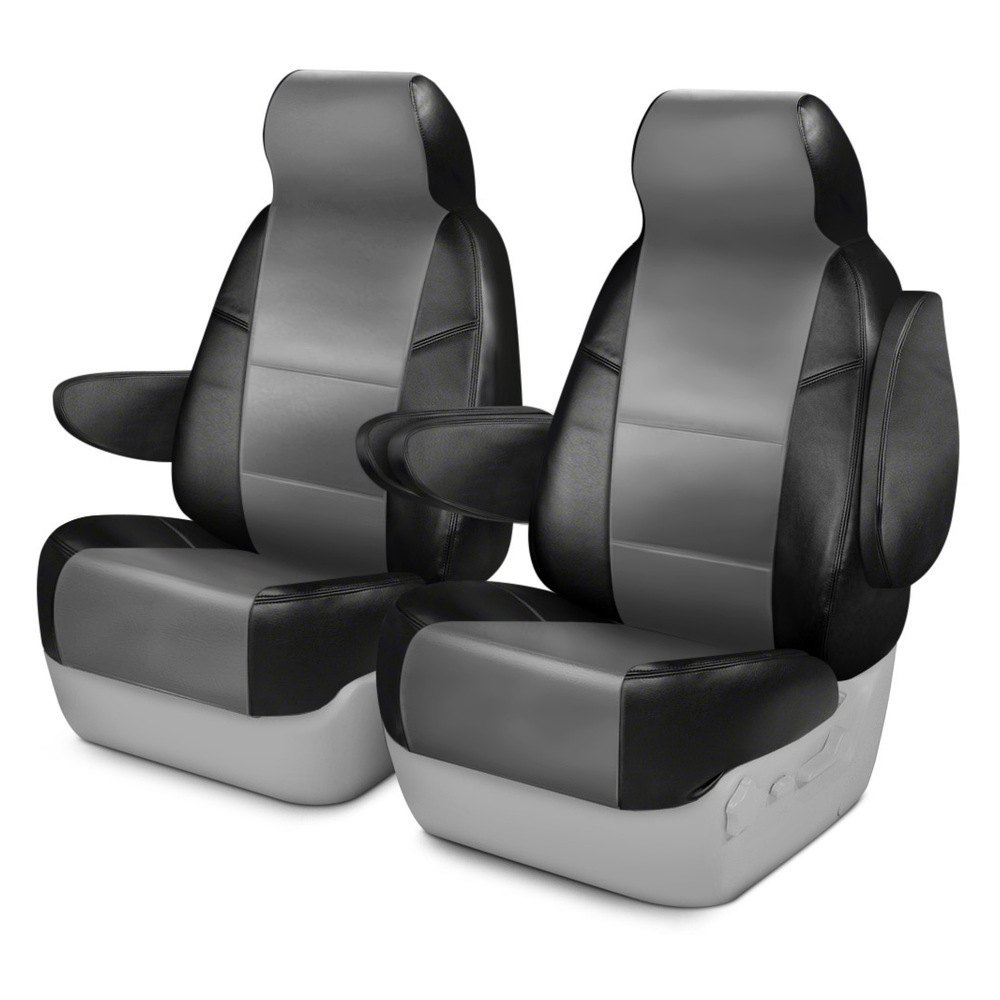 purchase Coverking® CSCQ13FD9807 - Leatherette 1st Row Black & Light Gray Custom Seat Covers for Ford truck cheap online