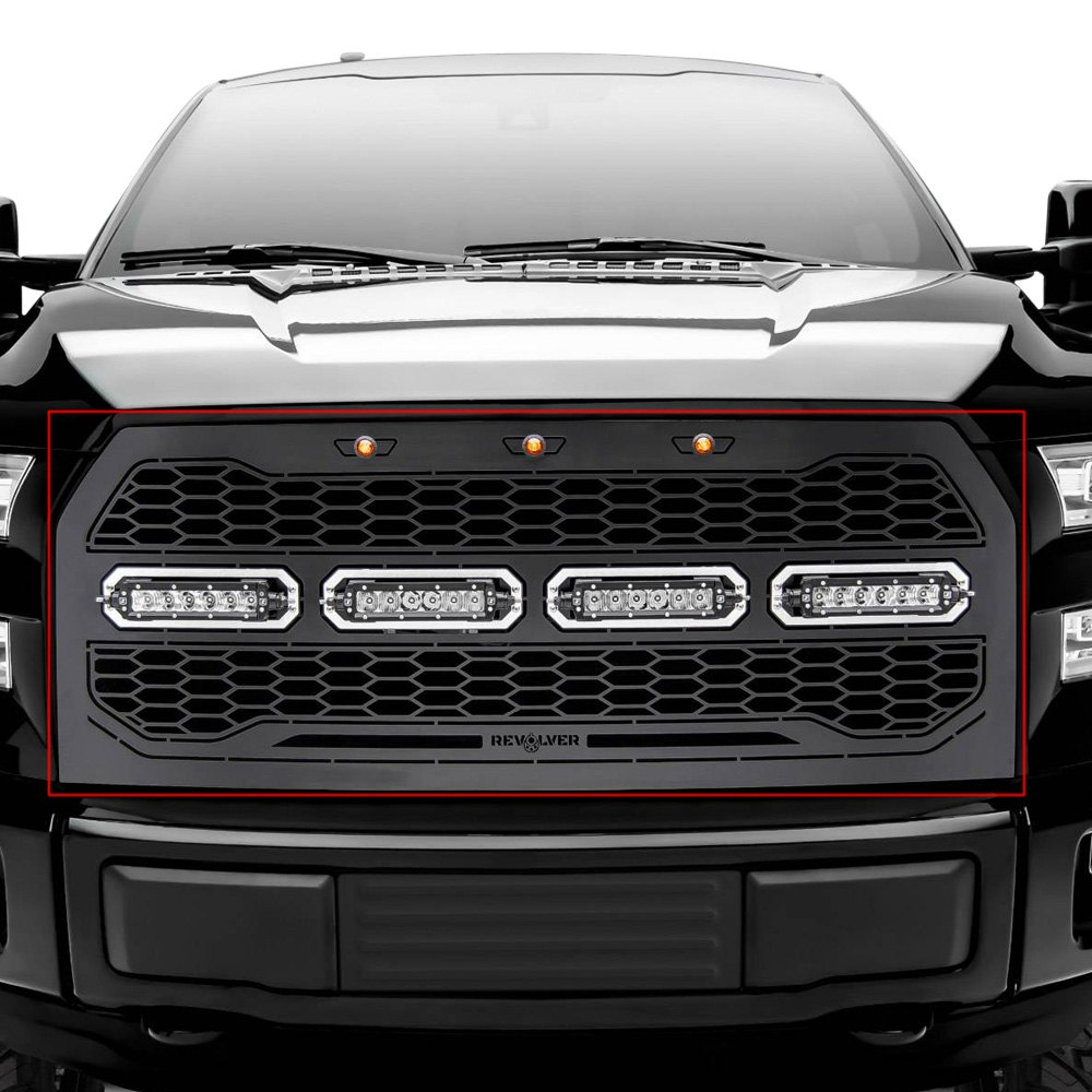 purchase T-Rex® 6515731 - 1-Pc Revolver Series Raptor-Style Black CNC Machined Main Grille with 4 x 6