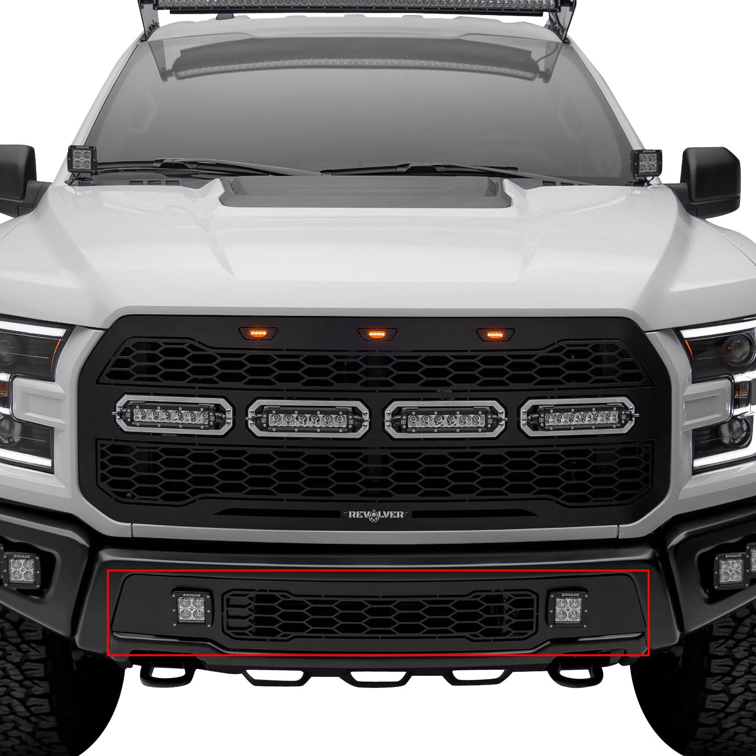 purchase T-Rex® 6525661 - 1-Pc Revolver Series Black CNC Machined Bumper Grille with 2 x 3