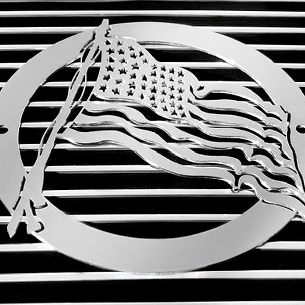 purchase T-Rex® L1001 - US Flag Polished Grille Badge 609579013291 for Ford truck cheap online