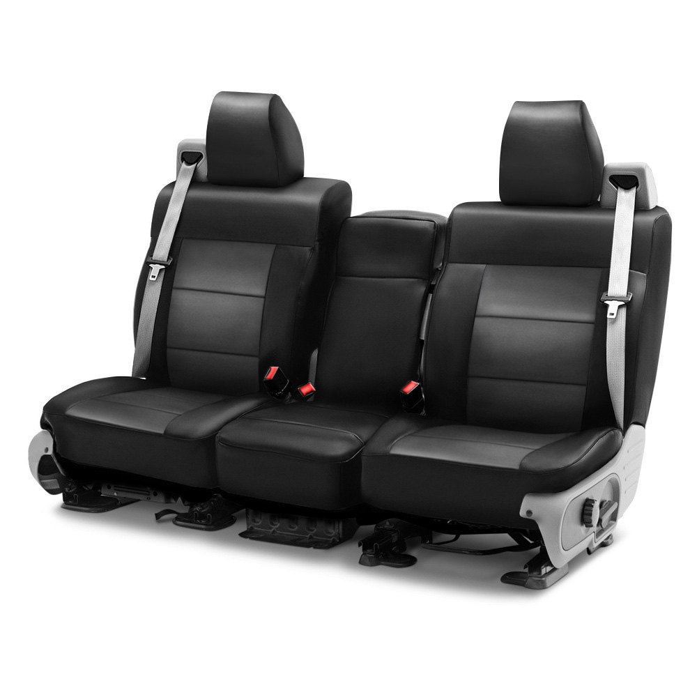 purchase Coverking® CSCQ12FD9837 - Leatherette 1st Row Black & Charcoal Custom Seat Covers for Ford truck cheap online